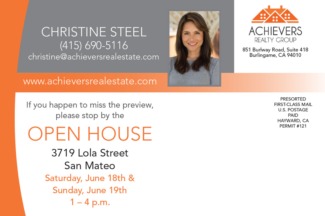 Christine Steel Open House Postcard